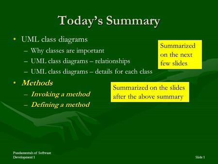 Fundamentals of Software Development 1Slide 1 Today's Summary UML class diagrams – –Why classes are important – –UML class diagrams – relationships – –UML.