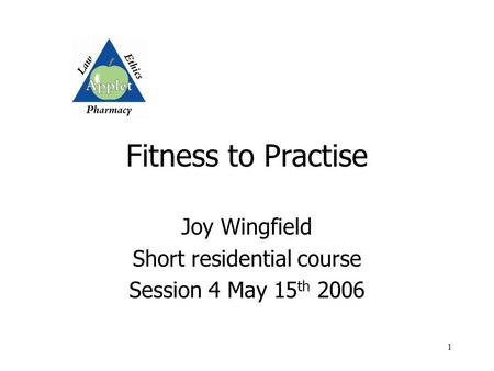 1 Fitness to Practise Joy Wingfield Short residential course Session 4 May 15 th 2006.