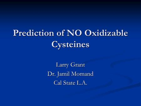 Prediction of NO Oxidizable Cysteines Larry Grant Dr. Jamil Momand Cal State L.A.