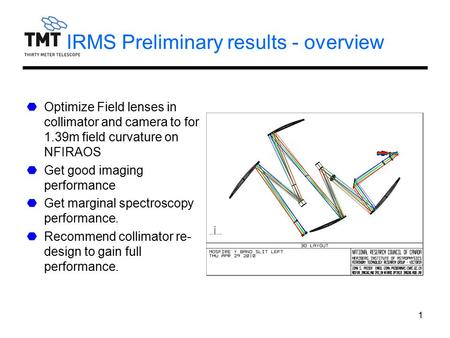 1 IRMS Preliminary results - overview Optimize Field lenses in collimator and camera to for 1.39m field curvature on NFIRAOS Get good imaging performance.