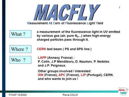 FIWAF 10/2002Pierre COLIN 1 a measurement of the fluorescence light in UV emitted by various gas (air, pure N 2...) when high-energy charged particles.