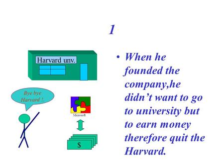 1 When he founded the company,he didn't want to go to university but to earn money therefore quit the Harvard. Harvard unv. $ Bye bye Harvard !. Microsoft.
