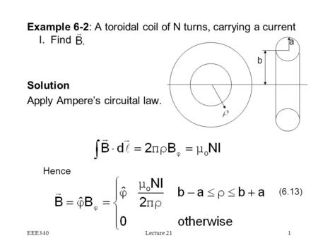 EEE340Lecture 211 Example 6-2: A toroidal coil of N turns, carrying a current I. Find Solution Apply Ampere's circuital law. Hence (6.13) b a.