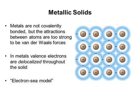 Metallic Solids Metals are not covalently bonded, but the attractions between atoms are too strong to be van der Waals forces In metals valence electrons.