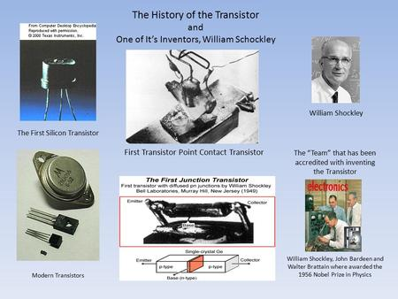 "The History of the Transistor and One of It's Inventors, William Schockley First Transistor Point Contact Transistor William Shockley The ""Team"" that has."