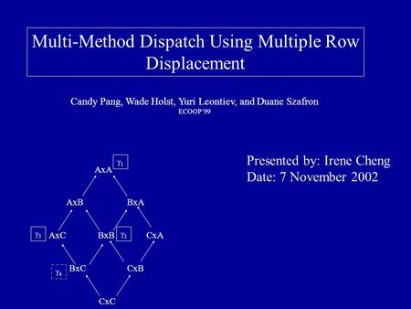 Multi-Method Dispatch Using Multiple Row Displacement Candy Pang, Wade Holst, Yuri Leontiev, and Duane Szafron ECOOP'99 Presented by: Irene Cheng Date: