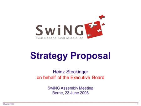 23 June 20081 Strategy Proposal Heinz Stockinger on behalf of the Executive Board SwiNG Assembly Meeting Berne, 23 June 2008.