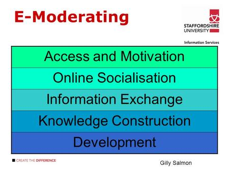 E-Moderating Access and Motivation Online Socialisation Information Exchange Knowledge Construction Development Gilly Salmon.