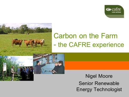 Carbon on the Farm - the CAFRE experience Nigel Moore Senior Renewable Energy Technologist.