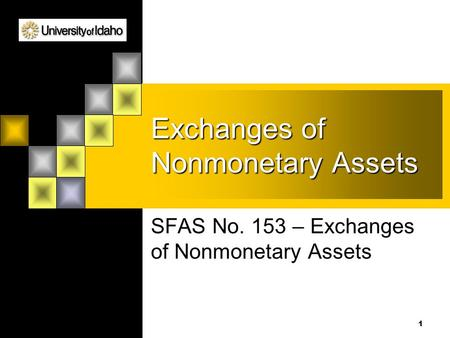 1 Exchanges of Nonmonetary Assets SFAS No. 153 – Exchanges of Nonmonetary Assets.