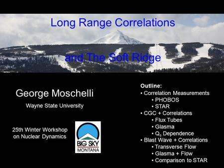 Based on work with: Sean Gavin & Larry McLerran arXiv:0806.4718 [nucl-th] Long Range Correlations and The Soft Ridge George Moschelli 25th Winter Workshop.
