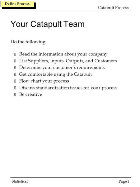 Your Catapult Team Do the following: