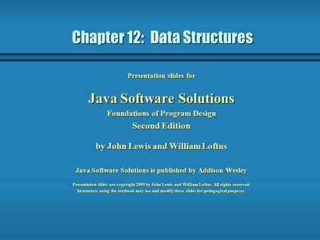 Chapter 12: Data Structures
