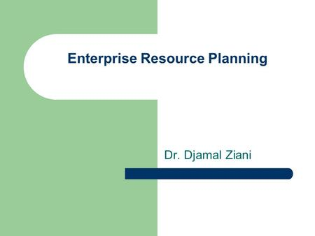 Enterprise Resource Planning Dr. Djamal Ziani. Customer Relationship Management CHAPTER 3.