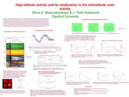 High-latitude activity and its relationship to the mid-latitude solar activity. Elena E. Benevolenskaya & J. Todd Hoeksema Stanford University Abstract.