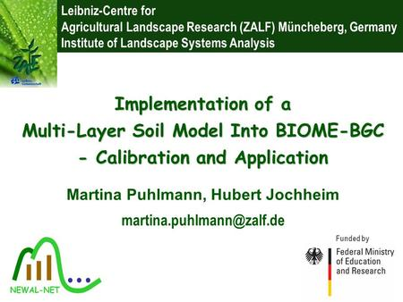 Leibniz-Centre for Agricultural Landscape Research (ZALF) Müncheberg, Germany Institute of Landscape Systems Analysis Funded by Martina Puhlmann, Hubert.