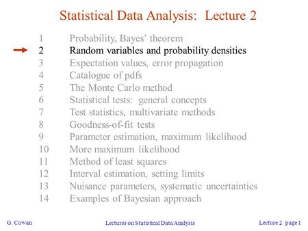 G. Cowan Lectures on Statistical Data Analysis Lecture 2 page 1 Statistical Data Analysis: Lecture 2 1Probability, Bayes' theorem 2Random variables and.