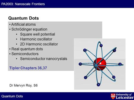 Quantum Dots PA2003: Nanoscale Frontiers Artificial atoms Schr ö dinger equation Square well potential Harmonic oscillator 2D Harmonic oscillator Real.