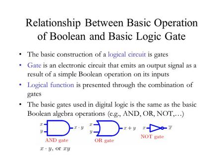 Relationship Between Basic Operation of Boolean and Basic Logic Gate The basic construction of a logical circuit is gates Gate is an electronic circuit.