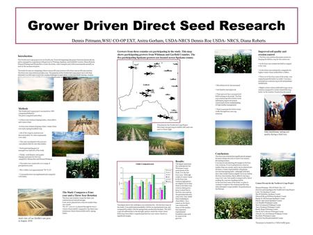 Grower Driven Direct Seed Research Dennis Pittmann,WSU CO-OP EXT, Anitra Gorham, USDA-NRCS Dennis Roe USDA- NRCS, Diana Roberts Improved soil quality and.