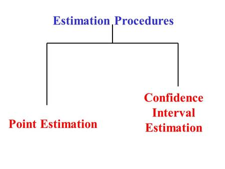 Estimation Procedures Point Estimation Confidence Interval Estimation.