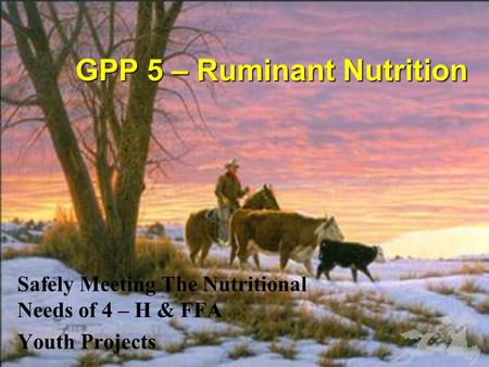 GPP 5 – Ruminant Nutrition Safely Meeting The Nutritional Needs of 4 – H & FFA Youth Projects.