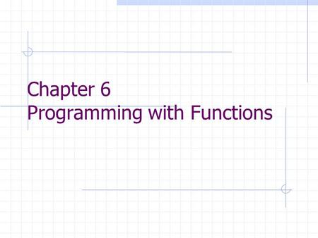 Chapter 6 Programming with Functions. FUNCTIONS Intrinsic Functions (or called library functions) Function Subprograms: programmer-defined functions.