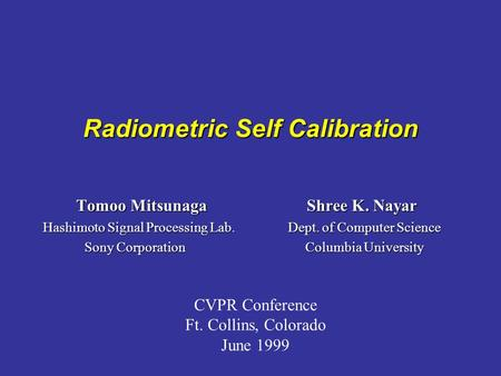 Radiometric Self Calibration