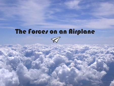 The Forces on an Airplane. Four Main Forces Lift, Weight, Thrust, and Drag.