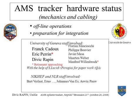 AMS tracker hardware status (mechanics and cabling) Divic RAPIN, UniGe AMS splinter tracker, Septidi 7 Brumaire 217 (october 28, 2008) off-line operations.