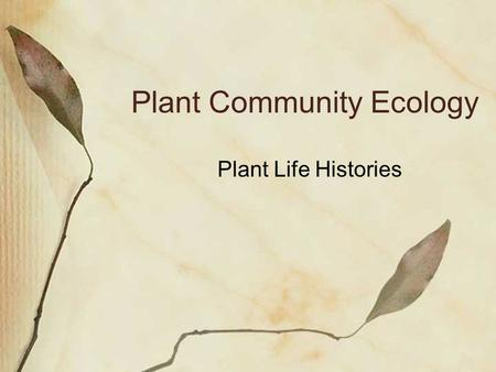 Plant Community Ecology Plant Life Histories. Life History- A plant's schedule of birth, mortality, and growth Life Cycles: Annuals, Biennials, Perennials.