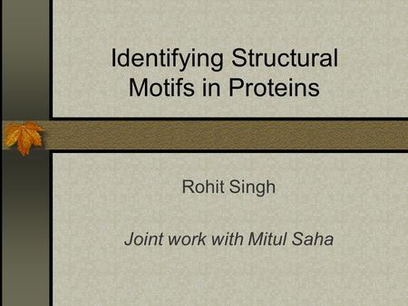 Identifying Structural Motifs in Proteins Rohit Singh Joint work with Mitul Saha.