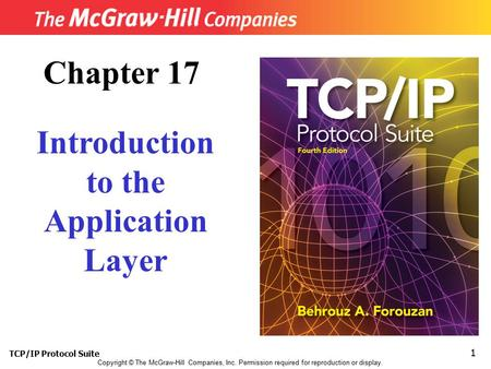 TCP/IP Protocol Suite 1 Copyright © The McGraw-Hill Companies, Inc. Permission required for reproduction or display. Chapter 17 Introduction to the Application.