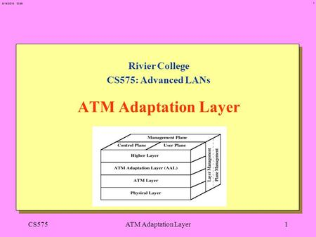 1 6/15/2015 12:56 CS575ATM Adaptation Layer1 Rivier College CS575: Advanced LANs ATM Adaptation Layer.