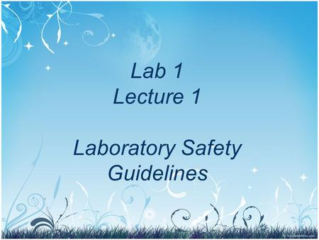 Lab 1 Lecture 1 Laboratory Safety Guidelines. Objectives Provide simple guidelines that may be useful in the event of fire, medical emergency, chemical,