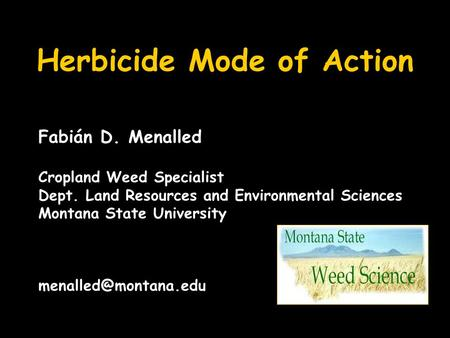 Herbicide Mode of Action Fabián D. Menalled Cropland Weed Specialist Dept. Land Resources and Environmental Sciences Montana State University