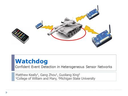 Watchdog Confident Event Detection in Heterogeneous Sensor Networks Matthew Keally 1, Gang Zhou 1, Guoliang Xing 2 1 College of William and Mary, 2 Michigan.