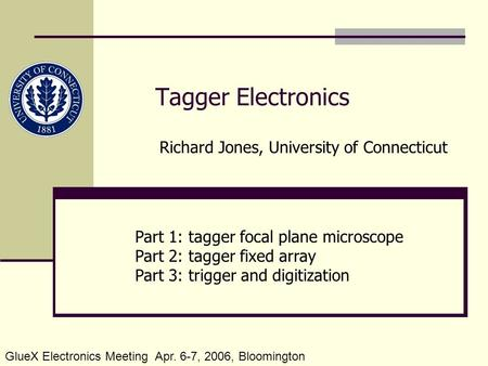 Tagger Electronics Part 1: tagger focal plane microscope Part 2: tagger fixed array Part 3: trigger and digitization Richard Jones, University of Connecticut.