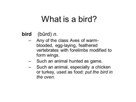 What is a bird? bird (bûrd) n. –Any of the class Aves of warm- blooded, egg-laying, feathered vertebrates with forelimbs modified to form wings. –Such.