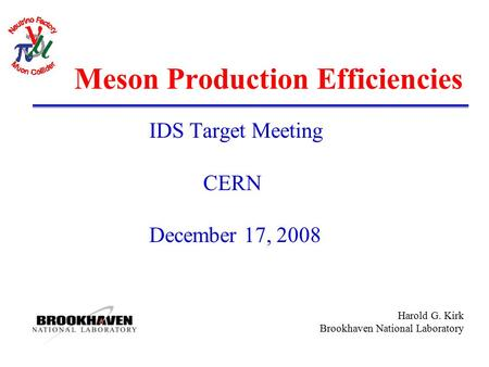 Harold G. Kirk Brookhaven National Laboratory Meson Production Efficiencies IDS Target Meeting CERN December 17, 2008.