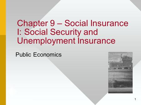 Chapter 9 – Social Insurance I: Social Security and Unemployment Insurance Public Economics.