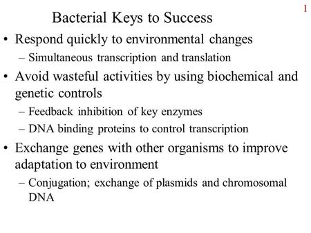 Bacterial Keys to Success Respond quickly to environmental changes –Simultaneous transcription and translation Avoid wasteful activities by using biochemical.