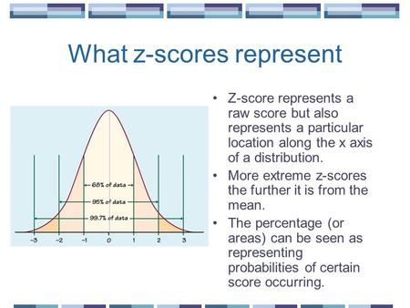What z-scores represent Z-score represents a raw score but also represents a particular location along the x axis of a distribution. More extreme z-scores.