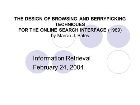 Information Retrieval February 24, 2004