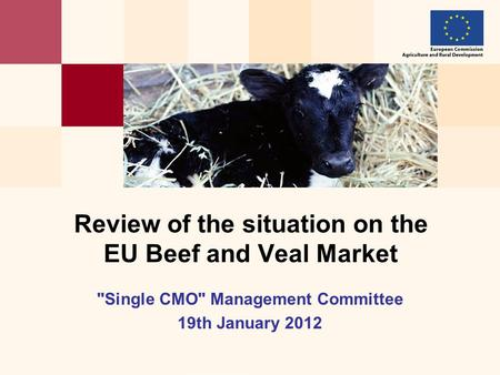 Single CMO Management Committee 19th January 2012 Review of the situation on the EU Beef and Veal Market.