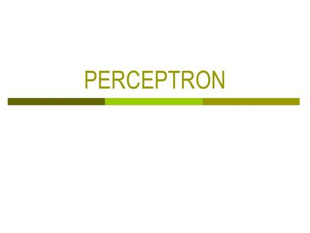 PERCEPTRON. Chapter 3: The Basic Neuron  The structure of the brain can be viewed as a highly interconnected network of relatively simple processing.
