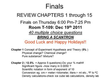 Finals Chapter 1 Concept of Experiment Hypothesis and Theory (5% ) Physical change? Chemical change? Pure substance? Mixture? Chapter 2 ( 12.5% = Approx.