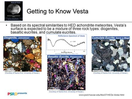 Www.psrd.hawaii.edu/Nov07/HEDs-Vesta.html Getting to Know Vesta Based on its spectral similarities to HED achondrite meteorites, Vesta's surface is expected.