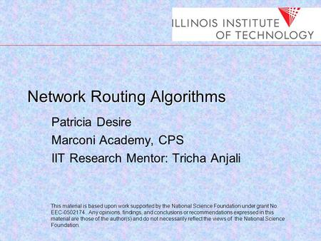 Network Routing Algorithms Patricia Desire Marconi Academy, CPS IIT Research Mentor: Tricha Anjali This material is based upon work supported by the National.