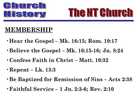 Hear the Gospel – Mk. 16:15; Rom. 10:17 Believe the Gospel – Mk. 16:15-16; Jn. 8:24 Confess Faith in Christ – Matt. 10:32 Repent – Lk. 13:3 Be Baptized.
